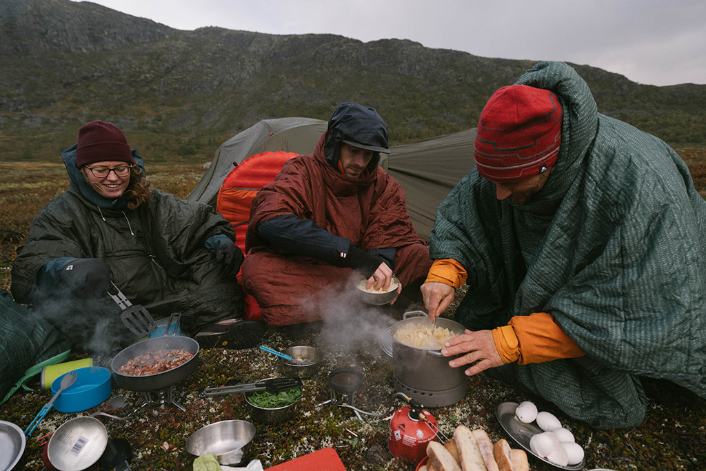 camping cookware in backcountry