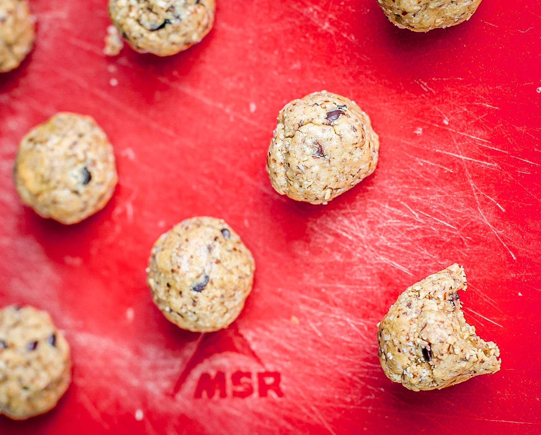 Raw Peanut Butter Chocolate Chip Cookie Dough Balls camping recipe