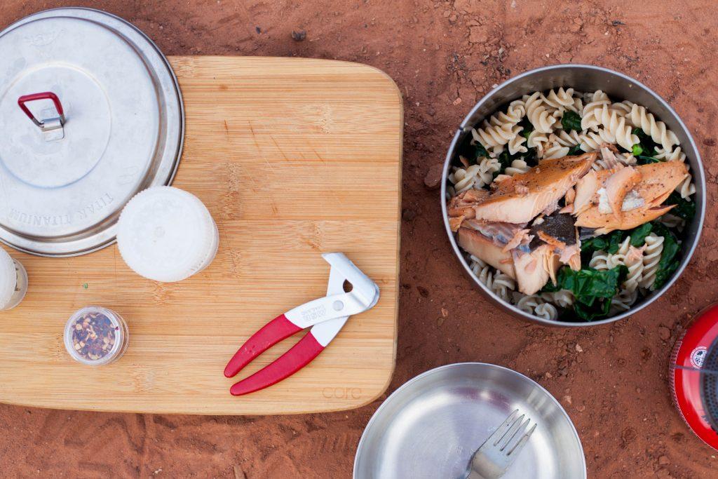 kale and smoked salmon pasta camping recipe