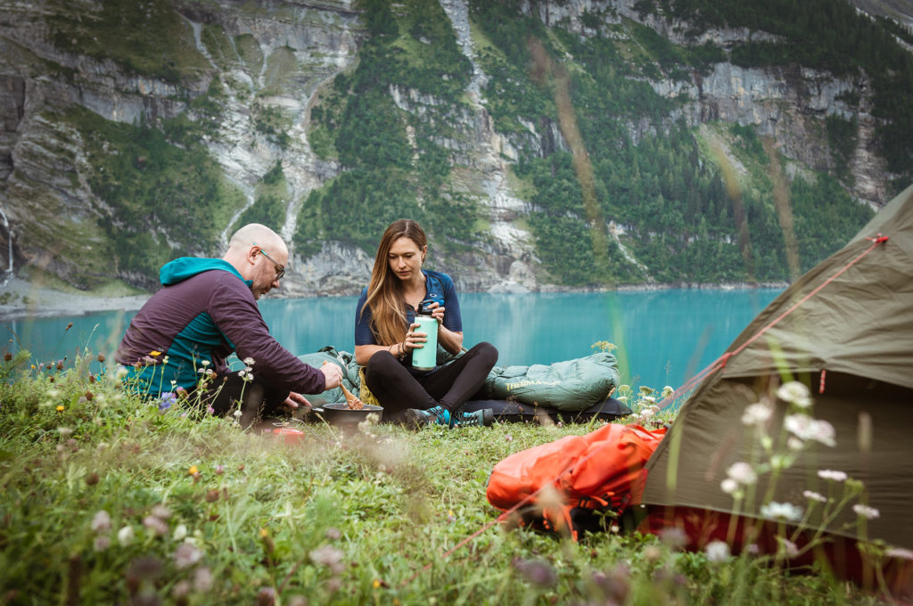 camping in swiss alpine