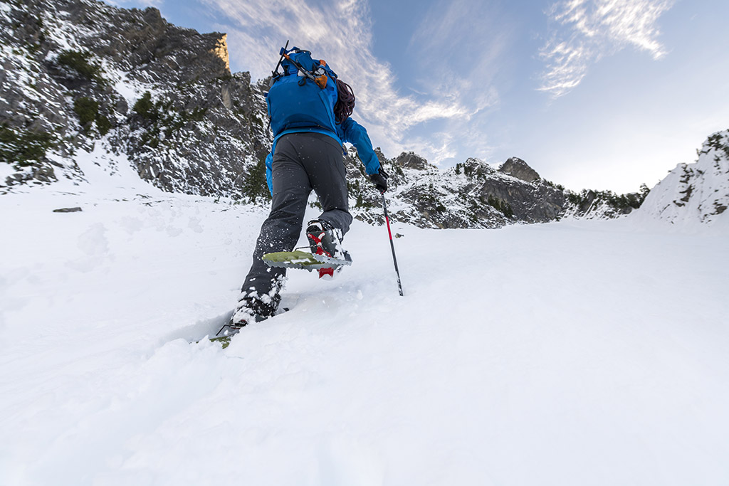 snowshoeing up mountain