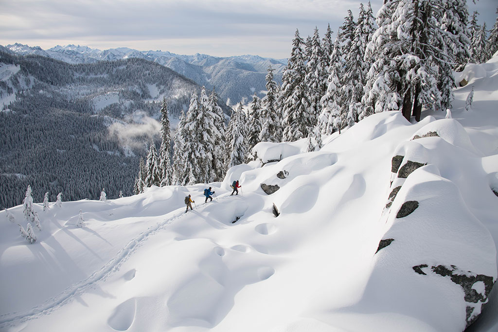 snowshoeing in the mountains