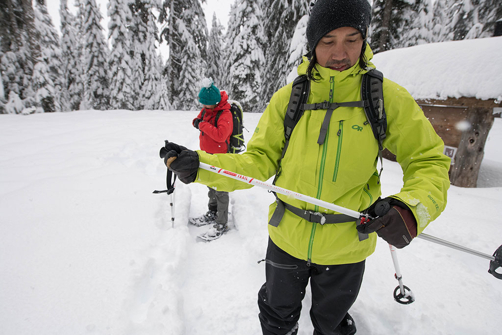 snowshoeing with poles in the backcountry