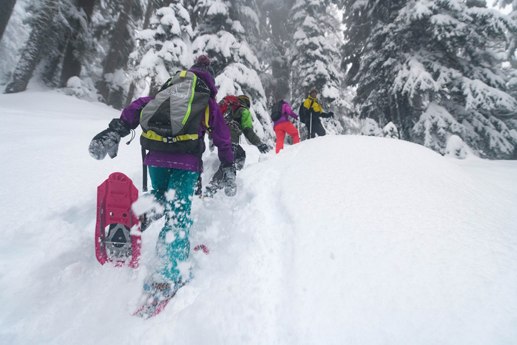 snowshoeing with family