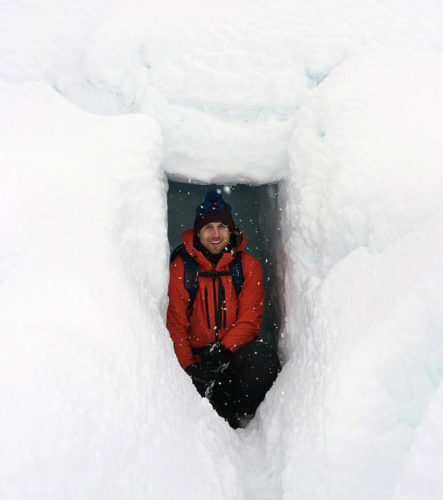 sitting in snow cave