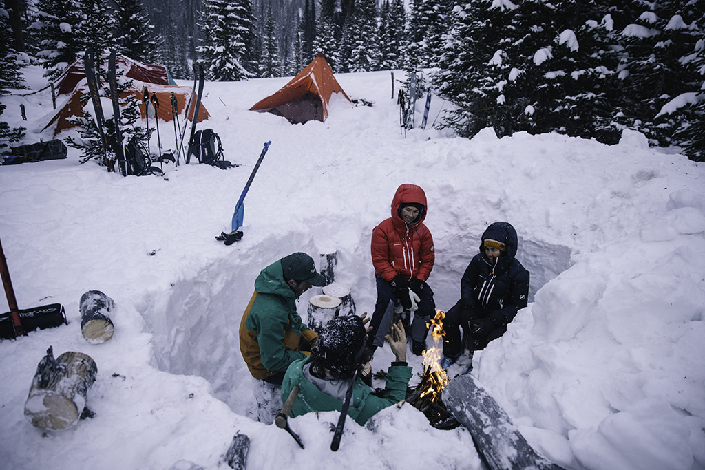 snow wind shelter and fire