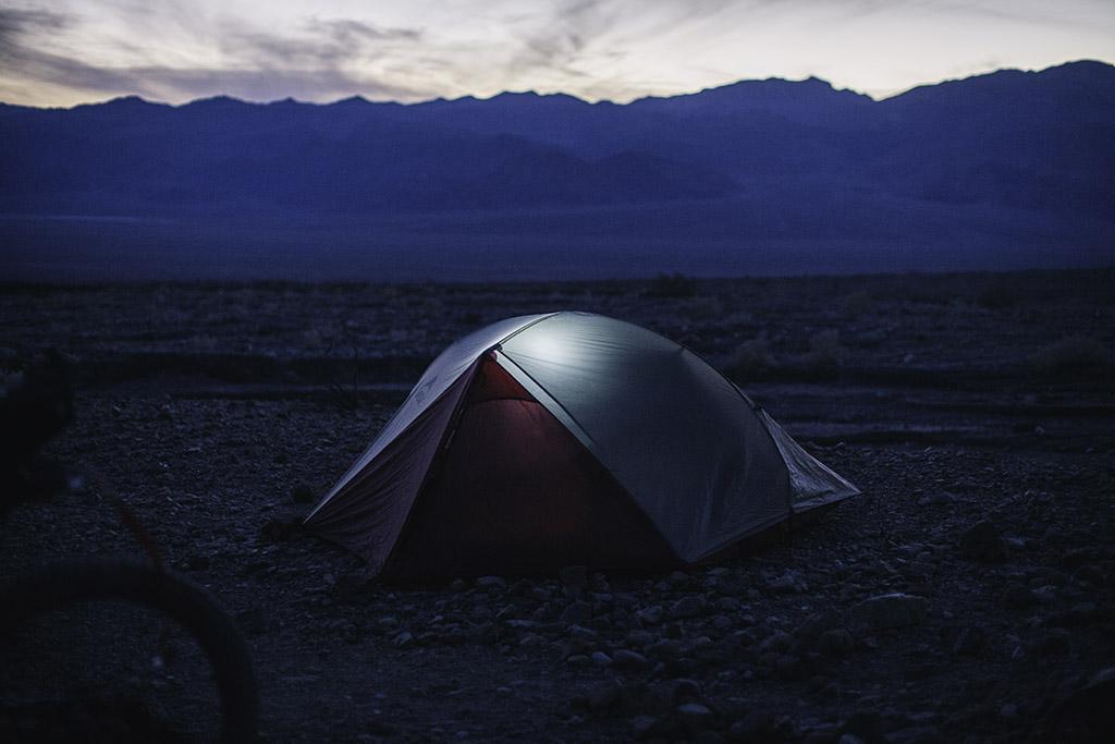 MSR tent on bikepacking trip