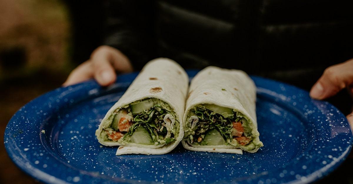 veggie wrap camping meal