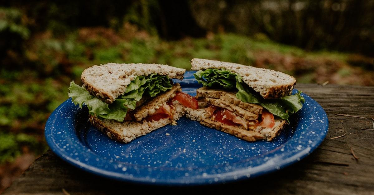 tempeh BLT vegetarian camping meal
