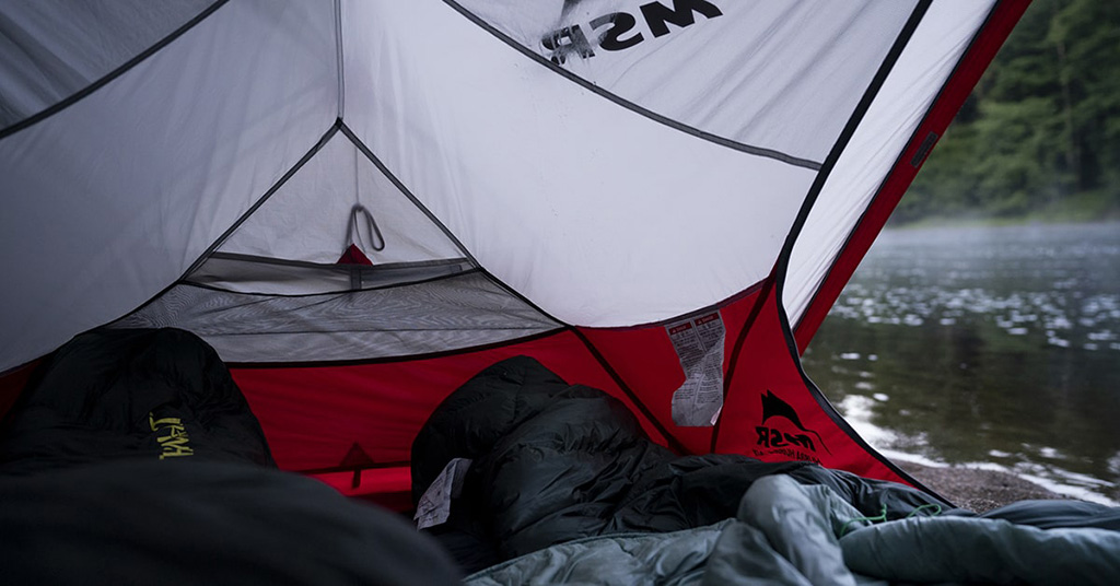 camping on hudson river in MSR tent