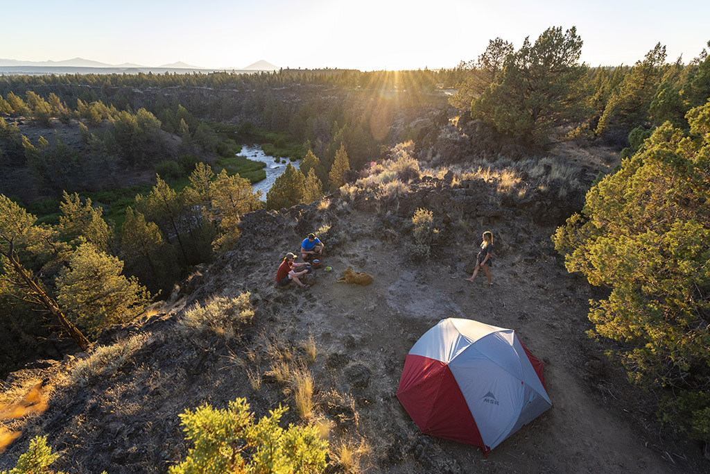backpacking tent at camp