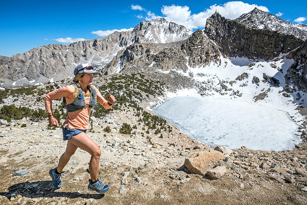 Trail running the Kearsarge Pass to Mt. Gould Trail in California's Sierra Nevada