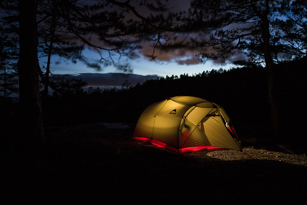 backpacking tent at night