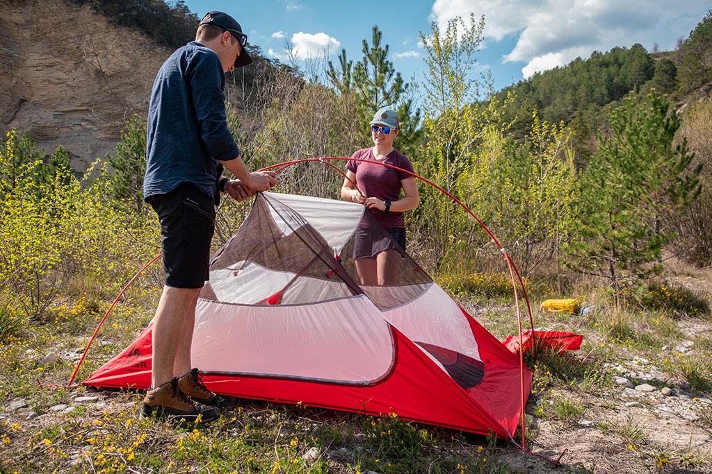setting up MSR tent