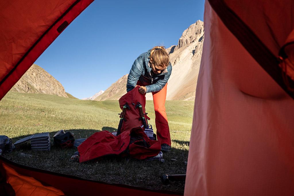 arranging climbing gear