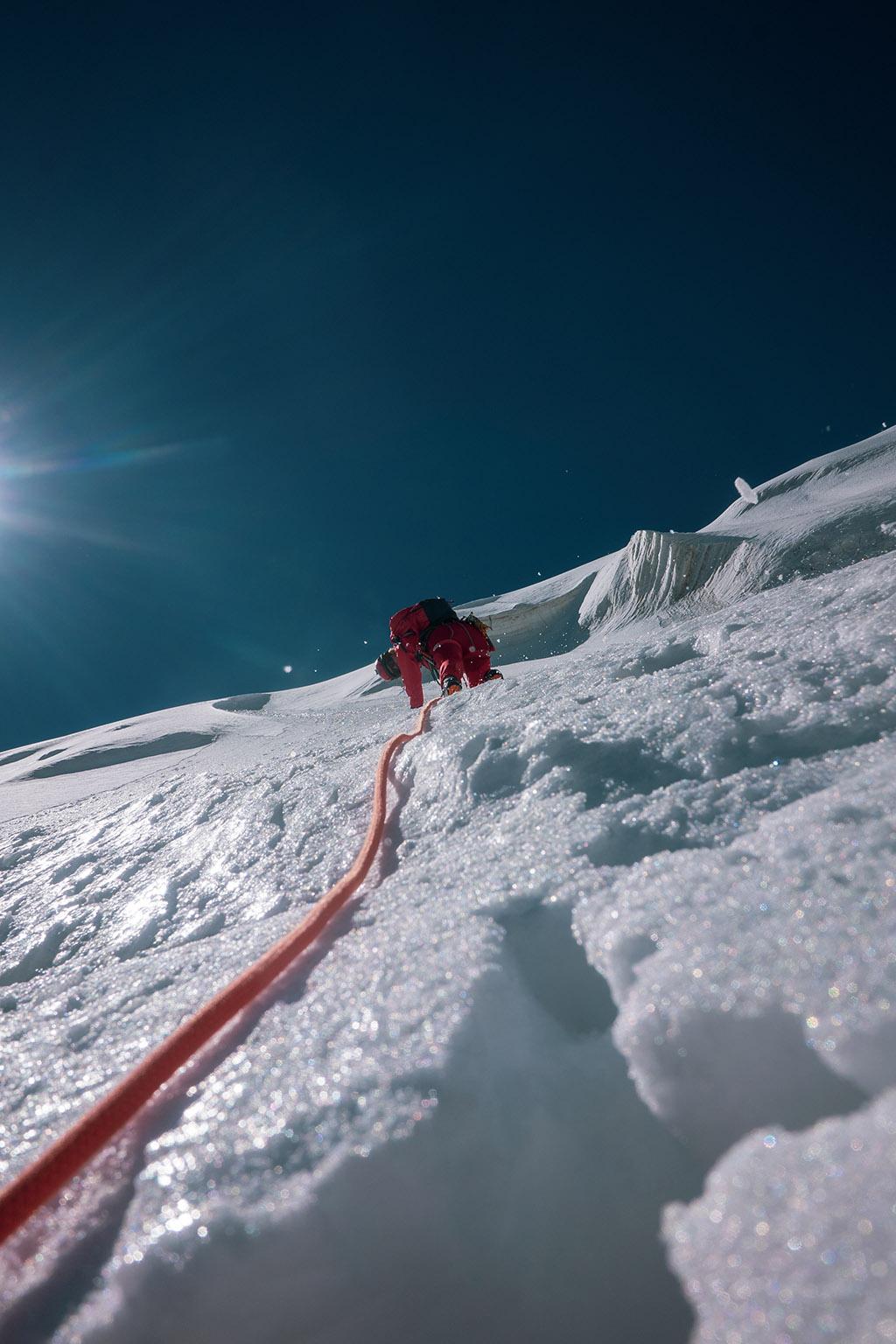 summitting a mountain