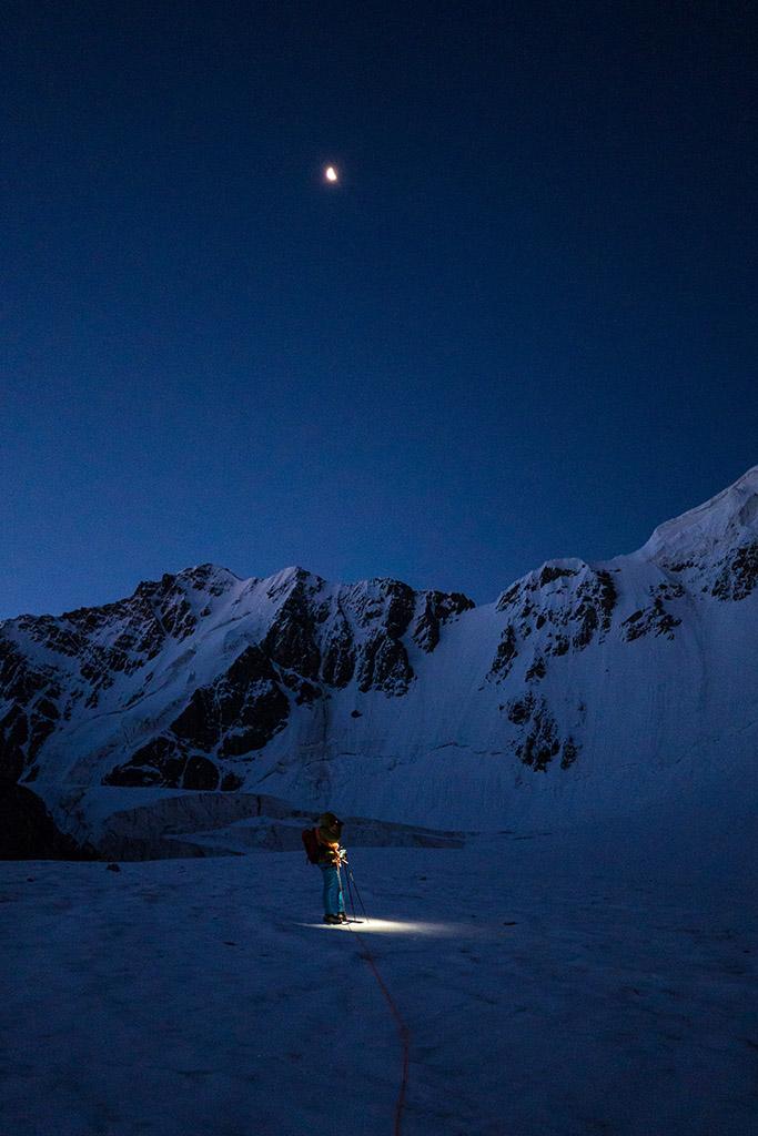 climbing in moonlight
